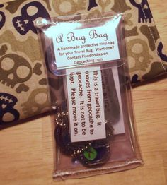 Handmade travel bug bag.  Don't forget to track it...