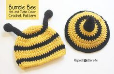 Get your little one buzzing in this Bumble Bee Hat and Tushie Cover from the Repeat Crafter Me blog.  There's some seriously cute crochet baby patterns on her site!