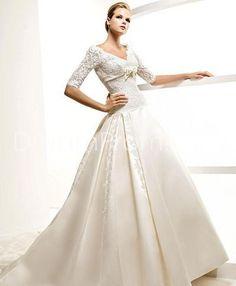 Elegant A-Line V-Neck Half-Sleeves Floor-Length Chapel Embroidery A-Line Wedding Dresses