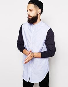 Image 1 ofASOS Longline Shirt With Contrast Jersey Sleeves And Grandad Collar