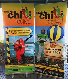 Rollaways we designed and printed for Sawtell Chilli Festival. Order yours at www.viadesign.com.au #sawtell #sawtellchillifestival #chilli #banner #design #graphic #graphicdesign