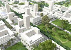 Een verzameling van witte gebouwen genaamd 100% Block City. Het is de inzending van KCAP Architects & Planners en NEXT Architects voor de A101 Block City Masterplan Competition in Moskou.