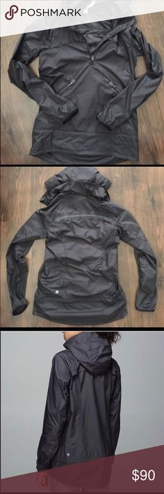 Lululemon rain jacket size 4 Pullover rain jacket, has a hood that folds up into the collar, front pockets, light weight. Worn once. lululemon athletica Jackets & Coats