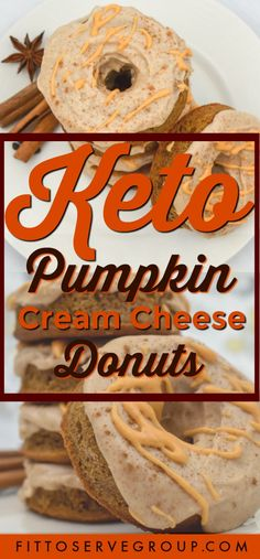 Debbie Anacker saved to a recipe for keto pumpkin cream cheese donuts. Enjoy a low carb donut without the fear of getting kicked out of ketosis. These keto donuts are pumpkin spiced filled treats that will keep you from…More 6 Easy Keto Dessert Ideas Low Carb Donut, High Protein Low Carb, Low Carb Keto, Keto Fat, Keto Foods, Keto Snacks, Ketogenic Meals, Paleo Diet, Keto Friendly Desserts