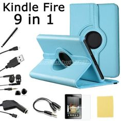 Pandamimi For Amazon Kindle Fire Accessories - Light Blue Rotating Stand PU Leather Case, Screen Protector& Cleaning Cloth, Headset, 2 ear caps, Earphone splitter cable (1 in 2 out), USB Cable, Car Charger, Touch Stylus, Newest 9 in 1 by Pandamimi, http://www.amazon.com/dp/B007CQFROY/ref=cm_sw_r_pi_dp_jsuvrb0CAQ8N9