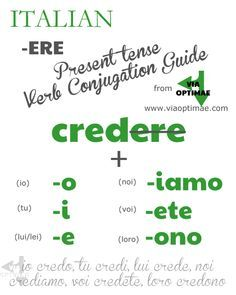 -ERE Present Tense Verb Conjugation Guide from Via Optimae, www.viaoptimae.com. Part of the Beginner's Italian Series!