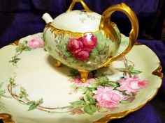 Limoges Hand Painted Rose Tea Pot Set /Creamer/Sugar Bowl/Charger