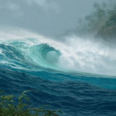 "memories of when the footprints of men were not so prolific and deep"", Tabora says Ocean Canvas, Ocean Art, Ocean Beach, Ocean Pictures, Seaside Pictures, Hawaiian Art, Evening Sky, Ocean Photography, Sea Waves"