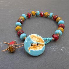 Leaf button bracelet,stacking bracelet, knotted bracelet