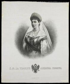 Jean-Baptiste Arnaud (imprimeur), Portrait de la tsarine Alexandra, Lyon, Paris, XXe siècle. MT 43048. Achat Descharrières, 1987. © Musée des Tissus, Pierre Verrier