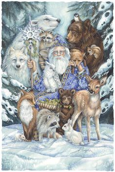 """"""" Our task is to free ourselves. by widening our circle of compassion to embrace all living creatures and the whole of Nature in its beauty.""""~Albert Eistein, 1954 New Holiday art for the next show Woodland Christmas, Christmas Deco, Vintage Christmas, Yule, Christmas Scenes, Christmas Animals, Fairytale Art, Winter Art, Winter Snow"""