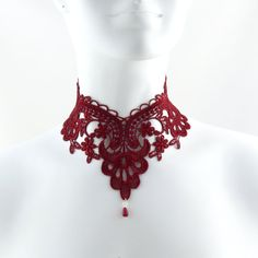 Red Lace Choker Necklace  Jewelry Victorian Gothic by Arthlin, $30.00