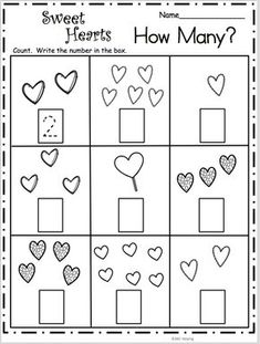 Count How Many - Sweet Hearts Math