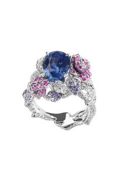 Dior Précieuses Rose ring - Women's rings - spring 2010..... White gold,diamonds,and pink and blue sapphires.
