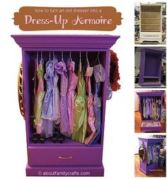 Baby Girls Room DIY Turn An Old Dresser Into A Dress Up Armoire. Pretend  Play Closet For Kids Project Furniture Repurposing Idea.