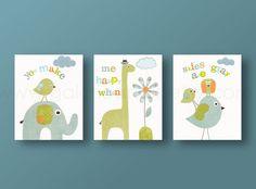 Nursery art, baby nursery decor, nursery wall art, baby art, giraffe, owls, bird, elephant. Set of 3, 8x10 Prints -  You Make Me Happy. $46.00, via Etsy.