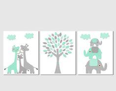 Aqua grey and teal Nursery Art Print Set Elephant and giraffe