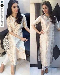 Divya Khosla Kumar wearing Raw Mango and Gazdar Jewellers for Sanam Re promotions on Aaj Tak. Churidar, Anarkali, Lehenga, Salwar Kameez, Ethnic Outfits, Indian Outfits, Indian Attire, Indian Wear, Pakistani Dresses