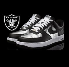 oakland raiders logo photo: Oakland Raiders Air Force Ones Oakland Raiders Shoes, Nfl Raiders, Raiders Stuff, Raiders Girl, Oakland Raiders Football, Raiders Nails, Dodgers Nation, Nike Air Max 90s, Sneaker Magazine