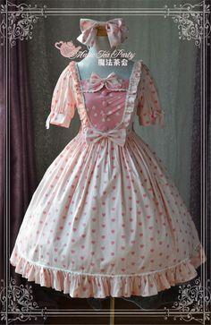 Heart's Dsire~ Sweet Lolita Short Sleeves Printed OP Dress