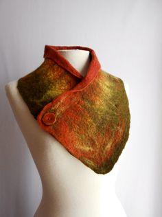 Wool felted scarf wool felted neck warmer felt scarf by woolNsilk