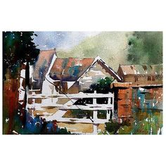 Farmyard with Imagined Gate #exmoor #devon #england #rural #farm #barn #gate #watercolour #watercolor #workshop #teaching #negativespace #instart #instasketch #sketch #thomaswschaller