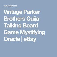 Vintage Parker Brothers Ouija Talking Board Game Mystifying Oracle | eBay