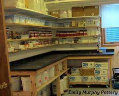 nicely organized pottery studio