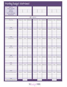 home budget sheets