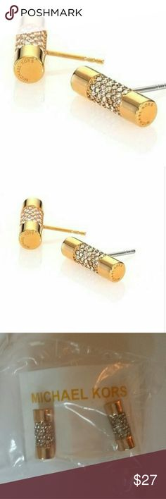??SALE?? MK BARREL STUDS Gold MK barrel shaped studs garnished with rhinestones.  Shines and reflects light well and is well constructed.  Size of barrel is just over .5 inch and base metal is alloy.    Bundle and save!! Accessories