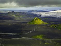 Hans Strand - Aerial of Maelifell, Iceland, August 2006.