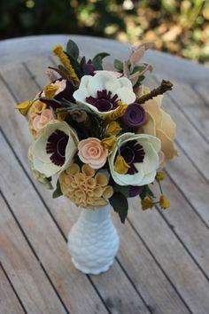 Custom Felt Flower Wedding Bouquet by TheFeltFlorist on Etsy Felt Flower Bouquet, Flower Bouquet Wedding, Felt Flowers, Diy Flowers, Fabric Flowers, Paper Flowers, Felt Crafts Diy, Felt Diy, Handmade Felt