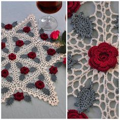 Roses stitched in Irish crochet enhance Kathryn White's Winsome Roses doily. #crochet #thread #doily