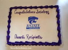 K-State themed cake. Edible Image. White cake with vanilla buttercream.