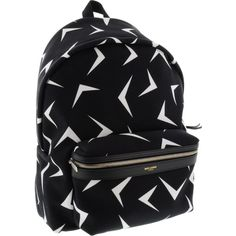 5 SAINT LAURENT BLACK BACKPACK WITH WHITE OPTIC DESIGN ($710) ❤ liked on Polyvore featuring bags, backpacks, backpack, black knapsack, black bag, black white bag, rucksack bag and black rucksack