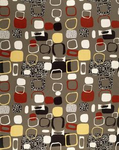 Furnishing fabric, by Jacqueline Groag for David Whitehead Ltd. Roller-printed rayon. Rawtenstall, Britain, 1952.