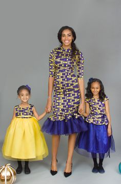 The Periwinkle Blu I Ankara Silk and Tulle Mommy Dress African Fashion Skirts, African Print Dresses, African Dress, Ankara Fashion, African Prints, African Attire, African Wear, African Kids, African Outfits