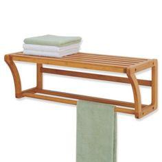 Neu Home Lohas Bamboo Wall Mounted Shelf with Towel Bar - BedBathandBeyond.com