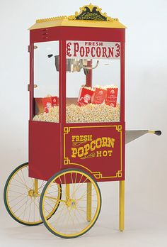 surprise brady with a popcorn machine and setup a bar next to it with carmel - Popcorn Machine For Sale