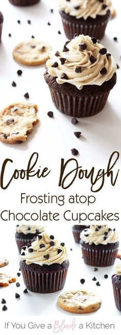 This chocolate chip cookie dough frosting tastes just like the real thing! It's light and fluffy, but oh so decadent—perfect for the chocolate cupcakes. | Recipe by /haleydwilliams/