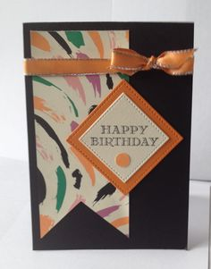 Su playful palette dsp, greeting from guy greeting stamp set .rnetallic edge white ribbon coloured with light pumpkin pie blends