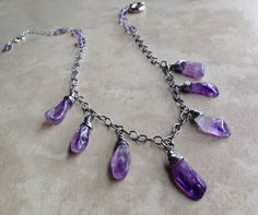 Amethyst drop necklace | Basket of Blue