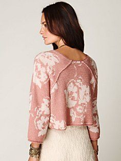 Free People, Floral Woven Pullover in Blush