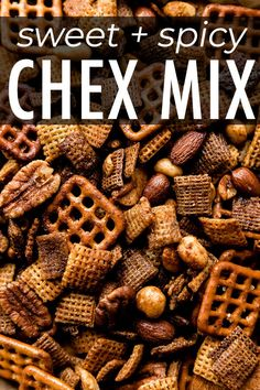 This completely addicting sweet & spicy honey Chex mix is made with extra sauce for extra flavor! It's so easy! Spicy Trail Mix Recipe, Trail Mix Recipes, Snack Mix Recipes, Snack Mixes, Sweet And Spicy Mixed Nuts Recipe, Sweet N Spicy, Spicy Honey, Sweet Party Mix Recipe, Healthy Chex Mix
