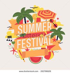 Beautiful summer festival design element with palms, beach items, music notes and more. Ideal for seasonal event poster, web banner or invitation