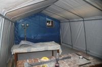 Homemade paint booth adapted from a portable automotive shelter. Homemade Slide, Homemade Paint, Homemade Tools, Diy Paint Booth, Spray Paint Booth, Portable Paint Booth, Portable Garage, Garage Paint, Garage Tools