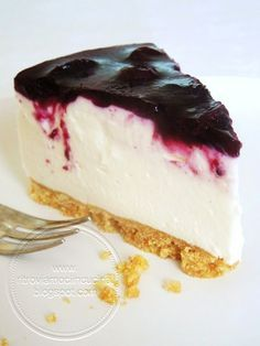 Ritroviamoci in Cucina: No Bake Blueberries Cheesecake No Bake Blueberry Cheesecake, Cranberry Cheesecake, Cheesecake Recipes, Crepes, Confort Food, Cold Cake, Cooking Cake, Cereal Recipes, Savoury Cake