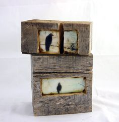 The carved space in this reclaimed barn wood block makes home or a window for the morning crow and a retreat for your thoughts. The illustration is covered with layers of pigmented beeswax (encaustic) and is finished off with rich brown stain. The block measures 6.5x 3 x 3.75 deep, can hang on the wall or rest on a shelf. The barn wood block is beautiful from any angle and the natural element gives it a wonderful presence.  Ready to hang, ships via USPS.