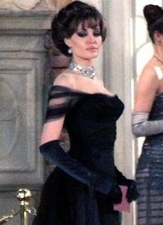 Jolie in a simple black evening gown in the Tourist