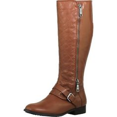 Marc Fisher Women's Joanna Leather Medium Brown Knee-High Leather  Equestrian Boot - 9.5M